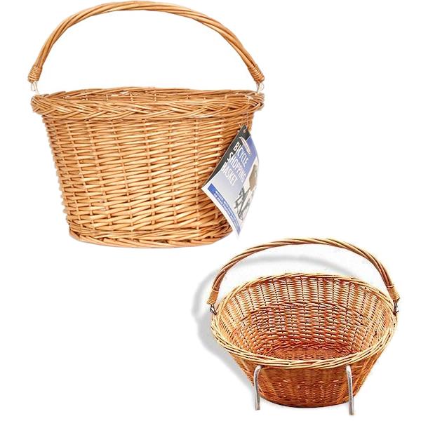 Wicker Bicycle Basket With Handle : Bicycle bike cycle handlebar front wicker ping basket