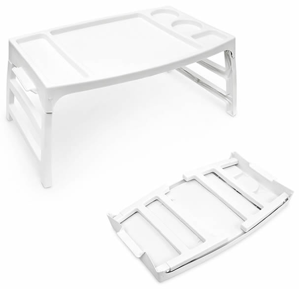 portable plastic lightweight serving bed breakfast lap food tray folding legs. Black Bedroom Furniture Sets. Home Design Ideas